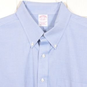 BrooksBros 17.5-34 Cotton Button Down Blue